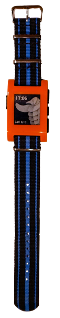 Orange pebble, blue striped NATO strap